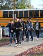 Japanese Exchange students exiting bus