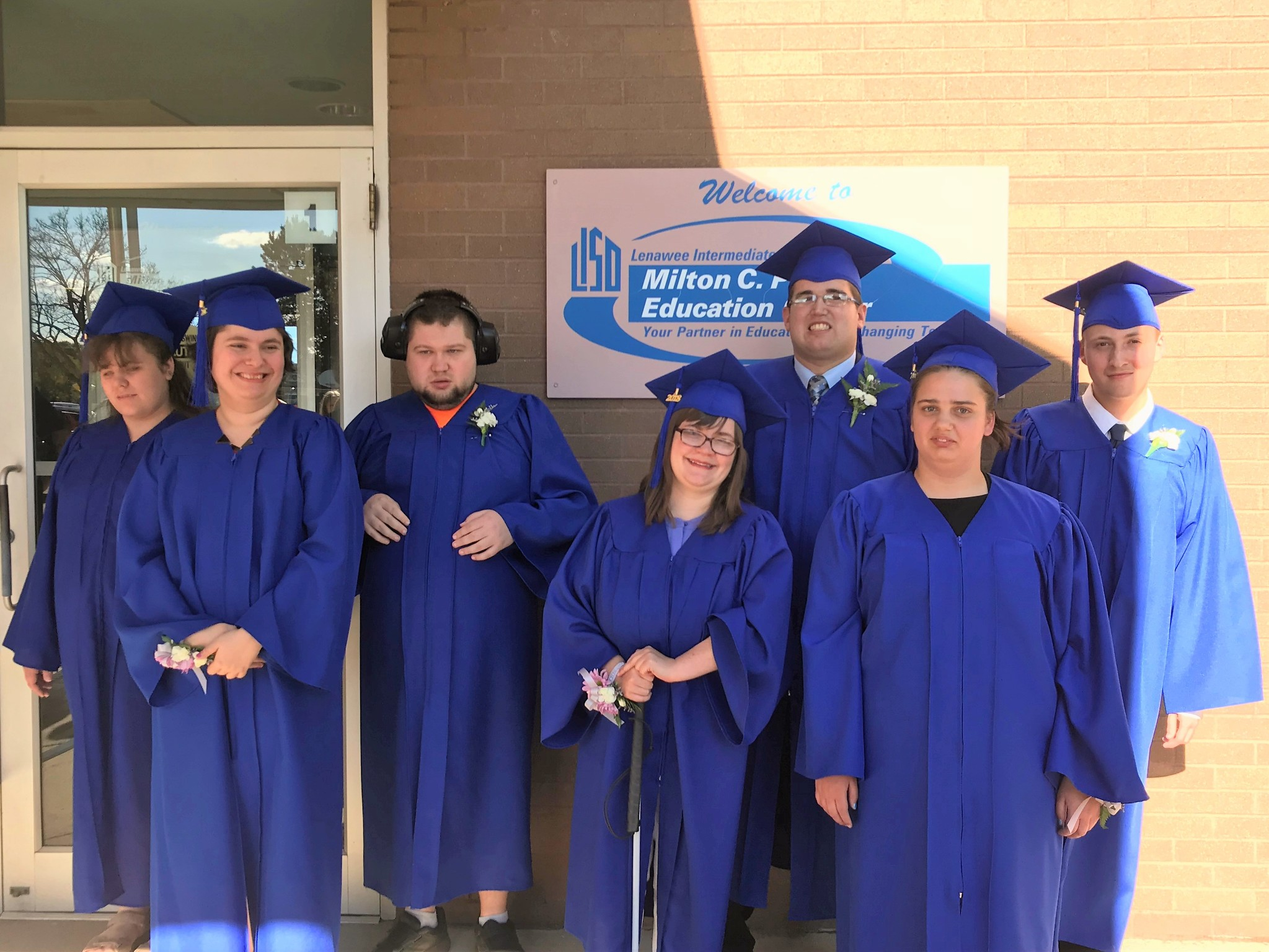 Special Education graduating seniors in gowns